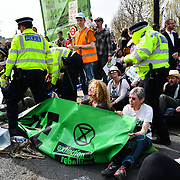 Activists continues occupies Waterloo Bridge in demand the UK Govt to act of Climate Change by 2025 on 18 April 2019, London, UK.