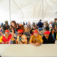 081414  Adron Gardner<br /> <br /> U.S. Marine Corps Code Talkers gather for the start of Code Talker Day festivities in Window Rock Thursday.