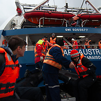 Tourists in a zodiac raft en route to Cape Horn from Chilean cruise ship Mare Australis.