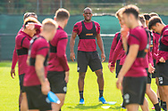 Uche Ikpeazu (#19) of Heart of Midlothian FC during training at The Oriam Sports Performance Centre, Heriot Watt University, Edinburgh, Scotland on 24 September 2019, ahead of the Betfred Scottish Football League Cup quarter-final match against Aberdeen. Picture by Malcolm Mackenzie