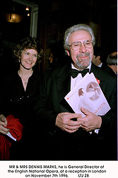 MR & MRS DENNIS MARKS, he is General Director of the English National Opera, at a reception in London on November 7th 1996.<br /> LTJ 28