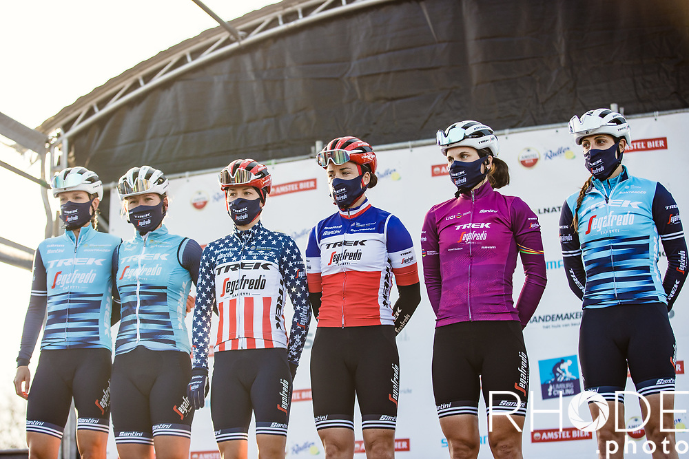 Team Trek Segafredo at the pre race team presentation.<br /> With an imposing line-up with Tayler Wise (USA/Trek Segafredo), Lauretta Hanson (AUS/Trek Segafredo), Ruth Winder (USA/Trek-Segafredo), Audrey Gordon-Ragot (FRA/Trek Segafredo), Elisa Longo Borghini (ITA/Trek Segafredo), Lucinda Brand (NED/Trek Segafredo)<br /> <br /> <br /> 7th Amstel Gold Race Ladies Edition <br /> Valkenburg > Valkenburg 116km<br /> <br /> ©RhodePhoto