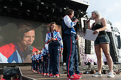 © Licensed to London News Pictures. 11/08/2012. London, UK.  The Team GB Olympic Bronze medal winning Hockey Team, on stage at BT London Live, Hyde Park..  Photo credit : Richard Isaac/LNP