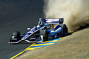 24-26 August, 2012, Sonoma, California USA.Alex Tagliani (98) has a moment in the gravel. .(c)2012, Jamey Price.LAT Photo USA