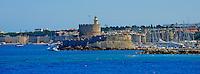 Grece, Dodecanese, Rhodes, ville de Rhodes, Unesco world heritage, la forteresse et Agios Nikolaos // Greece, Dodecanese, Rhodes island, Rhodes city, Unesco word heritage, Fortress and Agios Nikolaos