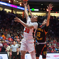 Gallup Bengal Joaquin Ortega (30) takes a shot under the basket during their 4A boys NMAA State Basketball quarterfinal playoff game against Espanola Valley Sundevils at Dreamstyle Arena (The Pit) Wednesday night in Albuquerque.