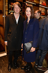 TOM HOOPER and REBECCA HALL at a party hosted by Gucci & Clara Paget to drink a new cocktail 'I Bamboo You' held at Gucci, 34 Old Bond Street, London on 16th October 2013.