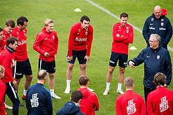 October 9, 2018 - LillestrØM, NORWAY - 181009 Mats Møller Dæhli, Vegard Forren, Martin Linnes of Norway and Lars Lagerbäck, head coach of Norway, during a training session on October 9, 2018 in Lillestrøm..Photo: Jon Olav Nesvold / BILDBYRÃ…N / kod JE / 160321 (Credit Image: © Jon Olav Nesvold/Bildbyran via ZUMA Press)