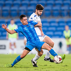 BRISBANE, AUSTRALIA - SEPTEMBER 20: Benjamin Lyvidikos of Gold Coast City and Luke Pavlou of South Melbourne compete for the ball during the Westfield FFA Cup Quarter Final match between Gold Coast City and South Melbourne on September 20, 2017 in Brisbane, Australia. (Photo by Gold Coast City FC / Patrick Kearney)