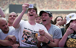 Ian Brown, Mani, John Squire and Reni of Stone Roses perform on stage at Wembley Stadium in London on 17 June 2017.<br /> (Editorial Usage only and 60 Days)<br /><br />17 June 2017.<br /><br />Please byline: Vantagenews.com