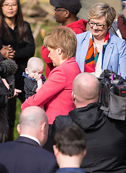 Scottish National Party leader, Nicola Sturgeon, joins Council candidates in Edinburgh to launch the SNP's manifesto for the 2017 Local Government election.<br /> <br /> <br /> Pictured: First Minister, Nicola Sturgeon holding a baby