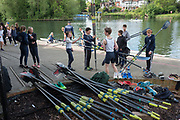Maidenhead. Berkshire. United Kingdom. General view. Competitors collecting their oars from outside, Maidenhead RC Boathouse. 2017 Maidenhead Junior Regatta  River Thames. <br /> <br /> [©Peter SPURRIER/Intersport Images] Sunday. 14.05.2017