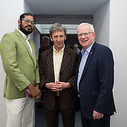"""18.05.2018.          <br /> More than 500 people attended the flagship event of the inaugural Unwrap LSAD Fashion Festival in Limerick.<br /> <br /> Pictured at the event were, shoka Bhoopadhy, Tom Pendergast and Prof. Vincent Cunnane, President LIT.<br /> <br /> The Limerick School of Art & Design, LIT, Fashion Design Graduate Exhibition and launch of the """"The Fashion Film"""" at Limerick City Gallery of Art, in partnership with EVA International, attracted hundreds of people from the world of fashion. <br /> <br /> A total of 27 fashion graduates presented their designs alongside the specially commissioned film by fashion stylist and creative director Kieran Kilgallon and videographer Albert Hooi. Picture: Alan Place"""