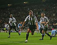 Photo: Andrew Unwin.<br /> Newcastle United v Celta Vigo. UEFA Cup. 23/11/2006.<br /> Newcastle's Steven Taylor (C) celebrates scoring his team's second goal.