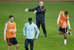 (L-R) Davy Propper of Holland,Georginio Wijnaldum of Holland, coach Dick Advocaat of Holland, Memphis Depay of Holland during a training session prior to the friendly match between Romania and The Netherlands on November 13, 2017 at Arena National in Bucharest, Romania