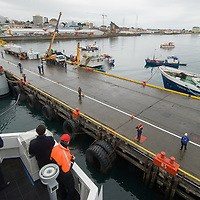 The captain of Chilean cruise ship Mare Australis docks at Punta Arenas, Chile.