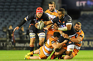It took two Cheetahs to stop Bill Mata during the Guinness Pro 14 2018_19 match between Edinburgh Rugby and Toyota Cheetahs at BT Murrayfield Stadium, Edinburgh, Scotland on 5 October 2018.