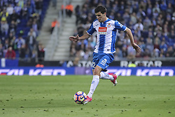 April 22, 2017 - Barcelona, Spain - Aaron during the match between RCD Espanyol vs Atletico Madrid, for the round 33 of the Liga Santander, played at RCD Espanyol Stadium on 22th April 2017 in Barcelona, Spain. (Credit Image: © Anna Trigueros/NurPhoto via ZUMA Press)
