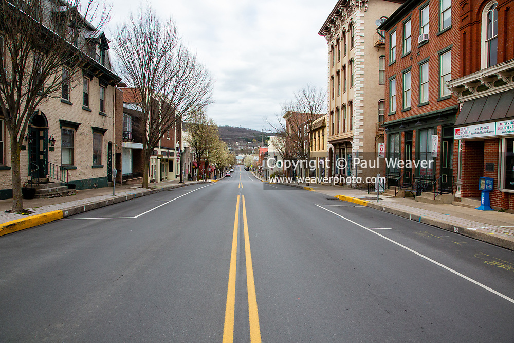 Danville's business district is empty after Pennsylvania Governor Tom Wolf issued a stay-at-home order to combat the COVID-19 pandemic.
