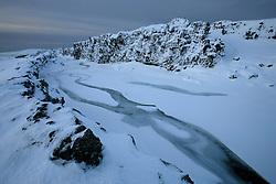 Öxará á Þingvöllum í 18 stiga frosti á öðrum degi nýárs 2005 / A frozen river, Oxara at Thingvellir in -18° C in second day of the new year 2005
