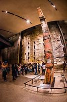 Last Column from Ground Zero and Slurry Wall segment, National September 11 Memorial & Museum, New York, New York USA.