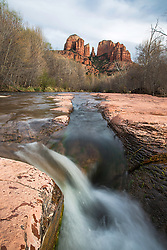 Oak Creek as it flows through Sedona Arizona below Castle Rock. The amazing landscape of Sedona attracts photographers from around the world.  The reason is evident.