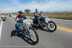 """Bill Dodge riding his custom 1952 Harley-Davidson (John Green) Panhead beside """"Moonshiner Josh"""" and """"Cutie Pie"""" of the Moonshiners reality show on their 2005 Harley-Davidson Softail south of Flagler Beach during Daytona Beach Bike Week 2015. FL, USA. March 13, 2015. Photography ©2015 Michael Lichter."""