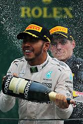 Race winner Lewis Hamilton (GBR) Mercedes AMG F1 celebrates on the podium.<br /> 13.11.2016. Formula 1 World Championship, Rd 20, Brazilian Grand Prix, Sao Paulo, Brazil, Race Day.<br />  <br /> / 131116 / action press