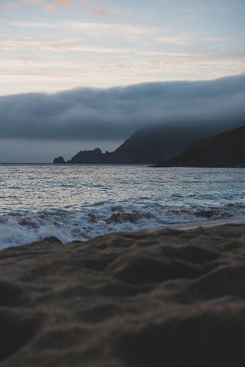 The Atlantic Ocean, seen at 10:03 p.m. at Playa Mar de Fora in Finisterre, Spain. (July 18, 2018)