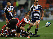 Jano Vermaak gets his backline going during the Super Rugby (Super 15) fixture between the DHL Stormers and the Lions held at DHL Newlands Stadium in Cape Town, South Africa on 26 February 2011. Photo by Jacques Rossouw/SPORTZPICS