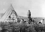 Young Black Foot North American  Indian outside his tent. Photograph c1885-1890