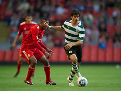 LIVERPOOL, ENGLAND - Wednesday, August 17, 2011: Sporting Clube de Portugal's Joao Teixeira in action against Liverpool during the first NextGen Series Group 2 match at Anfield. (Pic by David Rawcliffe/Propaganda)