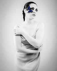 B&W Madame Butterfly with Blue wings
