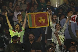 October 29, 2017 - Lahore, Punjab, Pakistan - Pakistani cricket lovers a holds a placard while cheering during the T20 cricket match between Pakistan and Sri Lanka at the Gaddafi Cricket Stadium in Lahore on October 29, 2017. The Twenty20 against Sri Lanka may take less than four hours to play but its significance could last far longer -- convincing major nations that it is safe to tour Pakistan again. Sri Lanka are the first top eight team to visit Pakistan, eight years after they were the last -- caught up in a deadly attack by militant gunmen outside Gaddafi stadium in Lahore. (Credit Image: © Rana Sajid Hussain/Pacific Press via ZUMA Wire)