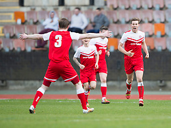 Brora Rangers Martin McLean celebrates after scoring their goal (right). Edinburgh City 1 v 1 Brora Rangers, 1st leg, Pyramid Playoffs at Meadowbank, 25/4/2015.