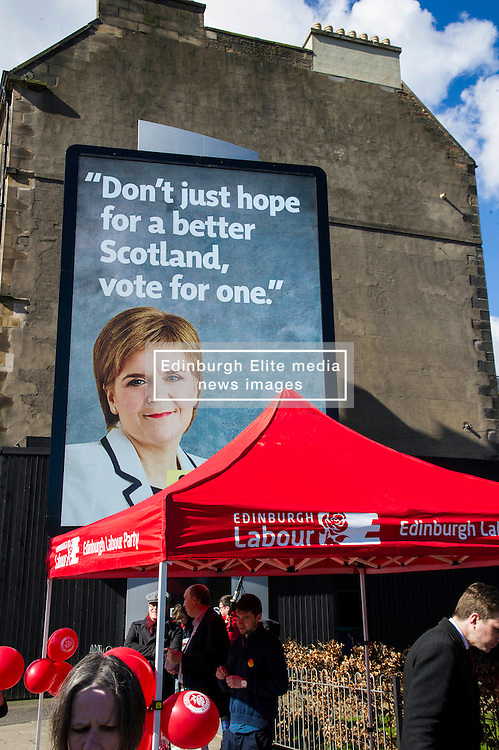 Pictured: Not the poster launched by Scottish Labour.<br /> <br /> Scottish Labour leader Kezia Dugdale today launched a new billboard poster for the final weekend of campaigning before the Scottish Parliament election on Thursday 5 May. She was joined by supporters and fellow candidates such as Sarah Boyack; Lesley Hinds and Daniel Johnston<br /> <br /> Ger Harley   EEm 30 April 2016