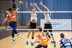 Jori Mantha of ACH Volley vs Maxson Guilherrme Pereira and Saso Stalekar of Calcit Volley during volleyball match between ACH Volley and OK Calcit Volley of 1. DOL Slovenian National Championship 2018/19, on October 27, 2018 in Hala Tivoli, Ljubljana, Slovenia. Photo by Klemen Brumec / Sportida