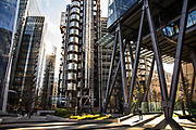 The area around the Lloyds building at 5pm on 26th March 2020 in London, United Kingdom. Normally crowded with people leaving work the City of London is like a ghost town as workers stay home during the Coronavirus pandemic.