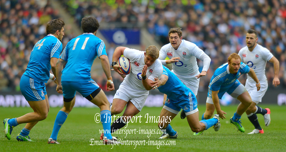 Twickenham, GREAT BRITAIN, Tom YOUNGS's breaking through with the ball during the 2013 Six Nations Rugby match, England vs Italy. Played at the RFU Stadium Twickenham, Surrey on Sunday   10/03/2013 [Mandatory Credit, Peter Spurrier/Intersport-images]