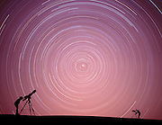 5 hour 45 minute time exposure during a Star Party in White Sands New Mexico.  This composite shows John Cornicelli who works at the solar observatory at Holloman A.F.B and Mark Bibeault (right)from Espanola N.M.