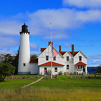 """""""Path to Point Iroquois""""<br /> <br /> Point Iroquois Light Station on Lake Superior!<br /> <br /> Lighthouses of the Great Lakes by Rachel Cohen"""
