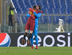 December 5, 2017 - Rome, Italy - Alisson Becker and Alessandro Florenzi exults during the Champions League football match A.S. Roma vs  Qarabag at the Olympic Stadium in Rome, on december 05, 2017. (Credit Image: © Silvia Lore/NurPhoto via ZUMA Press)