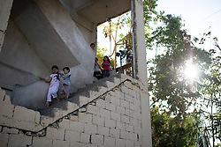 © Licensed to London News Pictures. 16/08/2020. Beirut, Lebanon. Young children play in the Karantina district of Beirut, which has been badly destroyed following the huge explosion in Beirut Port on 4 August. Photo credit : Tom Nicholson/LNP