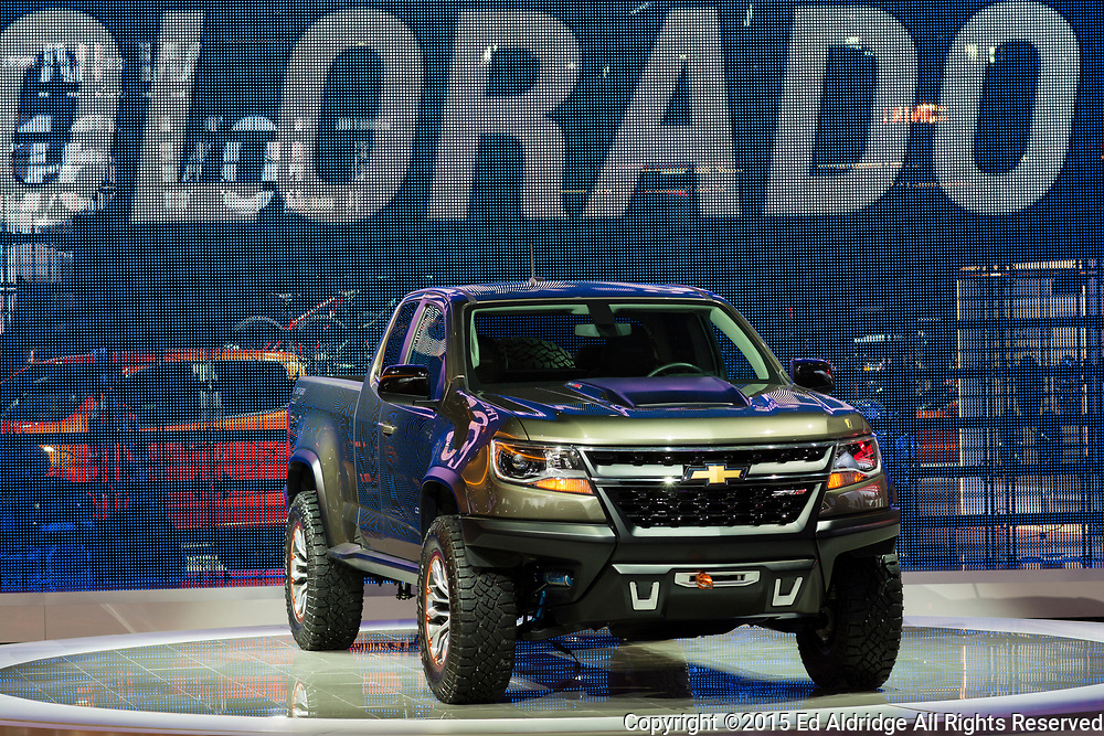 DETROIT, MI, USA - JANUARY 13, 2015: Chevrolet Colorado ZR2 on display during the 2015 Detroit International Auto Show at the COBO Center in downtown Detroit.