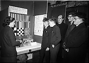 03/01/1967.01/03/1967.3rd January 1967.The third annual Aer Lingus Young Scientist Exhibition at the RDS..Eileen Sheila Hegarty of Scoil Mhuire Crok eplains her exhibit 'Some Simple Experiments in Photography' to (L-R) (from Wexford CBS) Muiris O Muineachain, Sean Mac Phiarais, Fr. O Teimhneam, Con O hEigeartaigh and Fr. A O Murchu ...