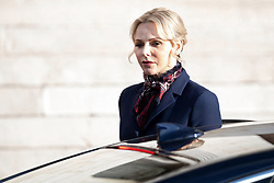 Princess Charlene of Monaco leaves the cathedral after a mass during the Saint Devote ceremony. Saint Dévote is the patron saint of the Principality of Monaco and of French Mediterranean Corsica on January 27, 2020 in Monaco, Monaco.<br /> Photo by David Niviere / ABACAPRESS.COM  | 717754_002 MONACO Monaco