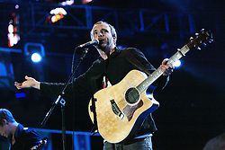 Fran Healy from Travis performs on stage..50,000 people filed into Murrayfield Stadium in Edinburgh, Scotland, on Wednesday July 6, 2005. The free gig, labelled Edinburgh 50,000 - The Final Push was the last of Bob Geldof's momentous Live 8 concerts..Pic ©2010 Michael Schofield. All Rights Reserved.