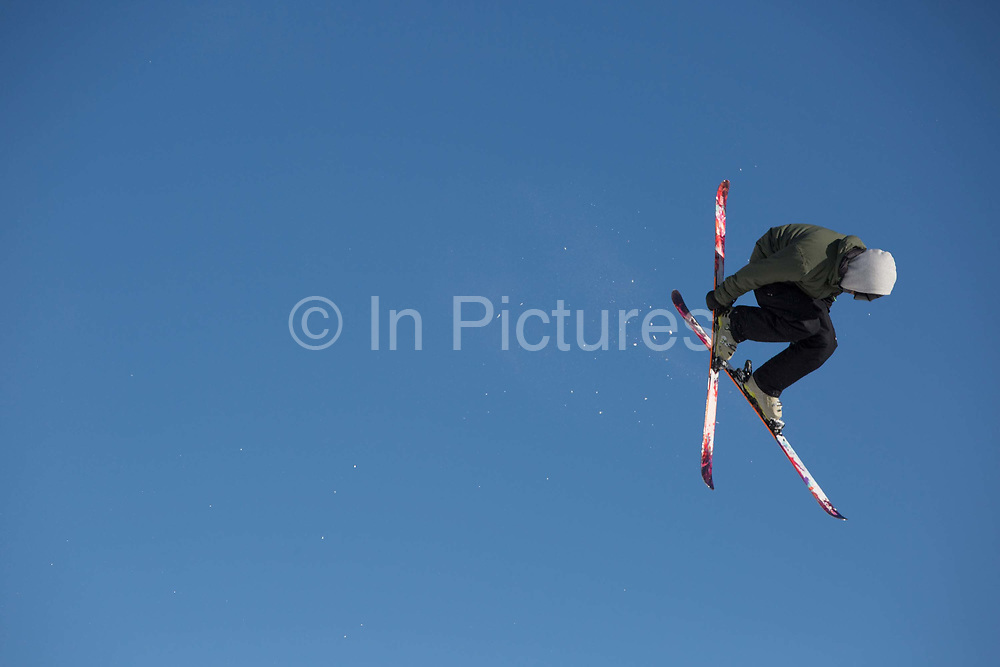 A skier at GB Park & Pipes winter training facility in Mottolino Snow Park on 7th December 2017 in Livingo, Italy. The Big Air Bag is the first of its kind and has been developed by the GB Park & Pipe's Hamish McKnight and Lesley McKenna. The air bag was built by BigAirBag company from Holland.