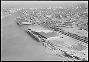 """Ackroyd 08541-1/3""""Aerials. September 5, 1958"""" (5x7"""") """"Waterways Terminal. Crown Zellerbach"""" (note ship dismantling in lower right. This property became the Schnitzer Steel yard)"""