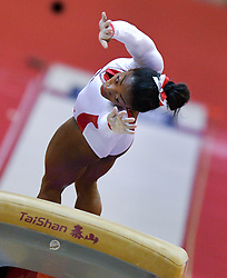 DOHA, Nov. 3, 2018  Simone Biles of the United States competes during the women's vault final at the 2018 FIG Artistic Gymnastics World Championships in Doha, capital of Qatar, Nov. 2, 2018. (Credit Image: © Yangyuanyong/Xinhua via ZUMA Wire)